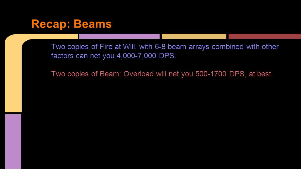 Two copies of Fire at Will, with 6-8 beam arrays combined with other factors can net you 4,000-7,000 DPS.