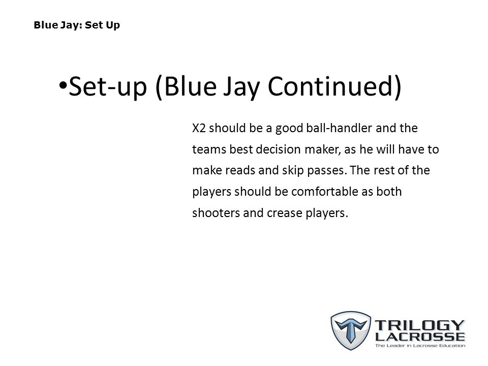 Blue Jay: Set Up X2 should be a good ball-handler and the teams best decision maker, as he will have to make reads and skip passes.