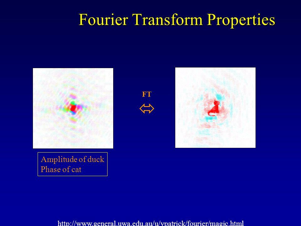 Fourier Transform Properties http://www.general.uwa.edu.au/u/vpatrick/fourier/magic.html FT  10% data omitted in rings