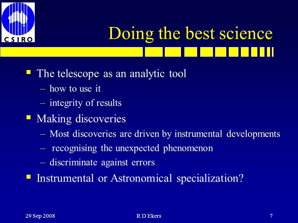 24 Sep 2012R D Ekers6 Indirect Imaging Applications  Interferometry –radio, optical, IR, space...