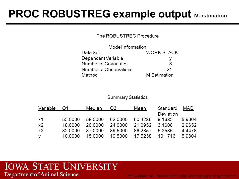 I OWA S TATE U NIVERSITY Department of Animal Science PROC ROBUSTREG example output M-estimation The ROBUSTREG Procedure Model Information Data Set WO