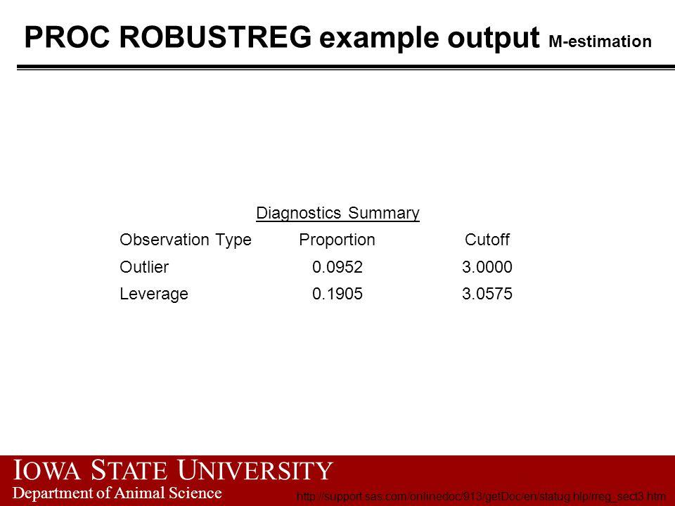 I OWA S TATE U NIVERSITY Department of Animal Science PROC ROBUSTREG example output M-estimation Diagnostics Summary Observation TypeProportionCutoff Outlier0.09523.0000 Leverage0.19053.0575 http://support.sas.com/onlinedoc/913/getDoc/en/statug.hlp/rreg_sect3.htm