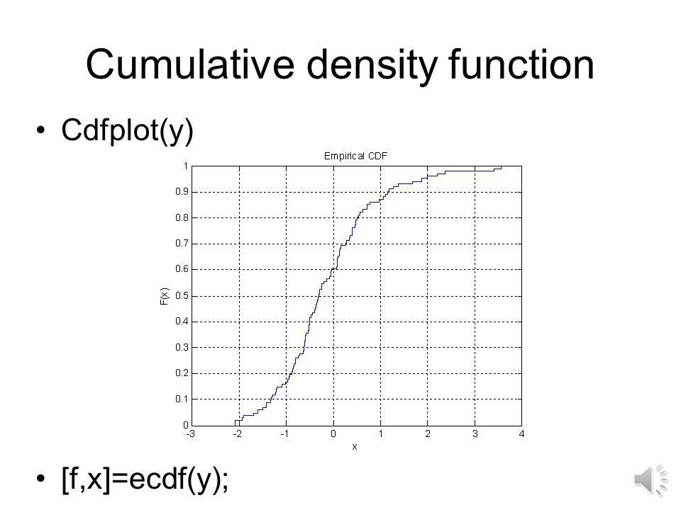 Obtaining distributions Histogram: y=randn(100,1); hist(y)