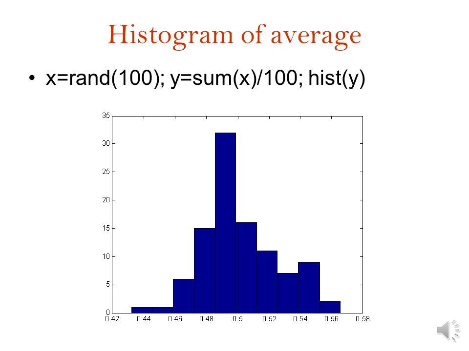 Cumulative density function Cdfplot(y) [f,x]=ecdf(y);