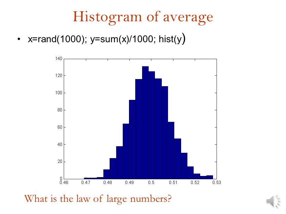 Histogram of average x=rand(100); y=sum(x)/100; hist(y)