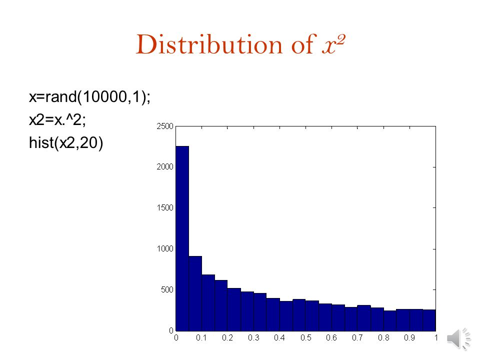 Histogram of average x=rand(1000); y=sum(x)/1000; hist(y ) What is the law of large numbers