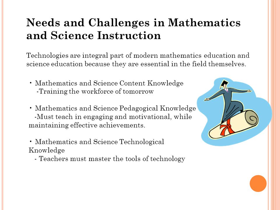 Needs and Challenges in Mathematics and Science Instruction Technologies are integral part of modern mathematics education and science education because they are essential in the field themselves.