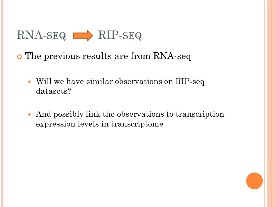 RNA- SEQ RIP- SEQ The previous results are from RNA-seq Will we have similar observations on RIP-seq datasets? And possibly link the observations to t