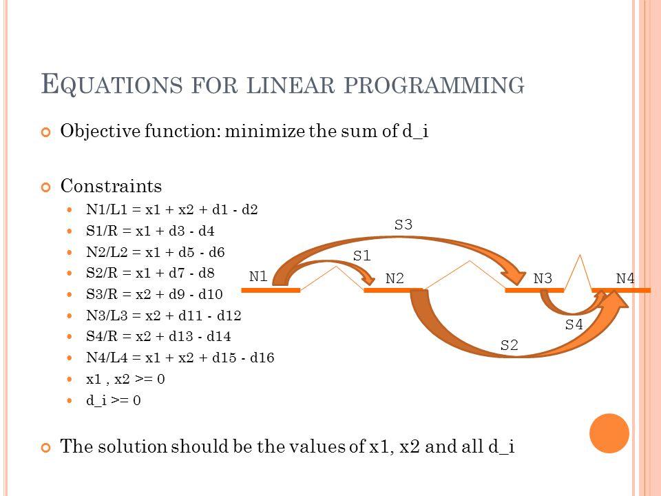 E QUATIONS FOR LINEAR PROGRAMMING Objective function: minimize the sum of d_i Constraints N1/L1 = x1 + x2 + d1 - d2 S1/R = x1 + d3 - d4 N2/L2 = x1 + d
