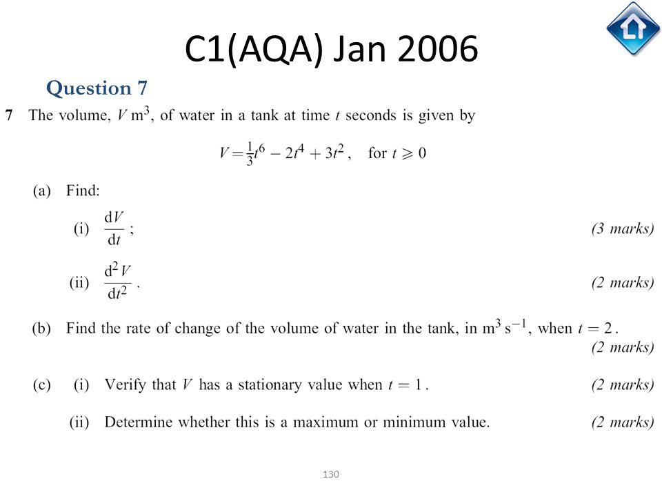 130 C1(AQA) Jan 2006 Question 7