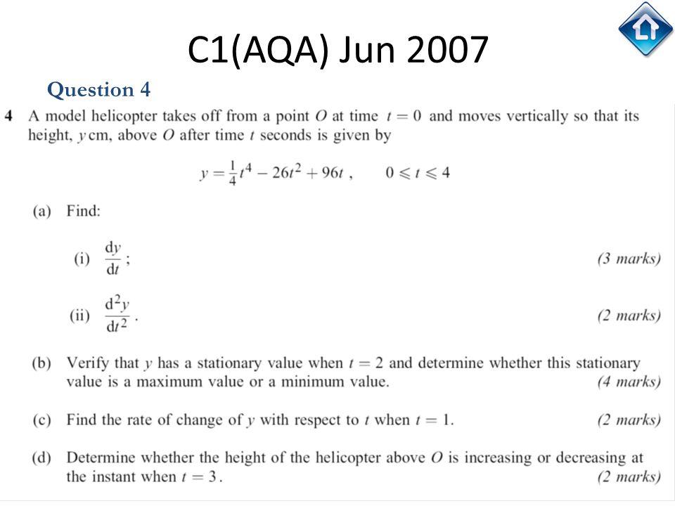 132 C1(AQA) Jun 2007 Question 4