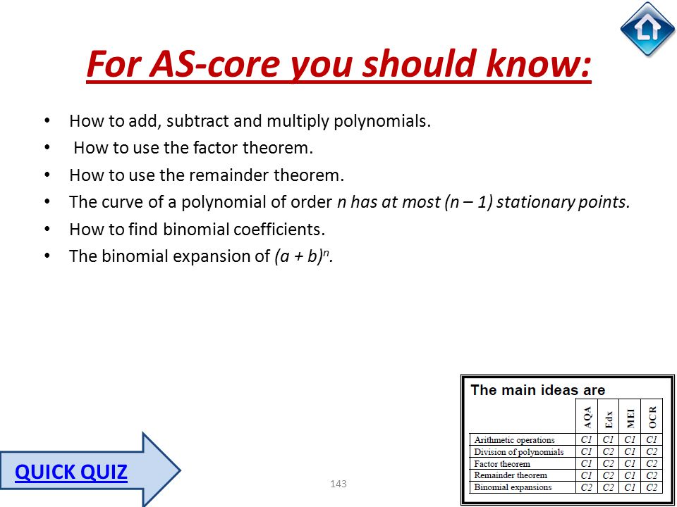 143 For AS-core you should know: How to add, subtract and multiply polynomials. How to use the factor theorem. How to use the remainder theorem. The c