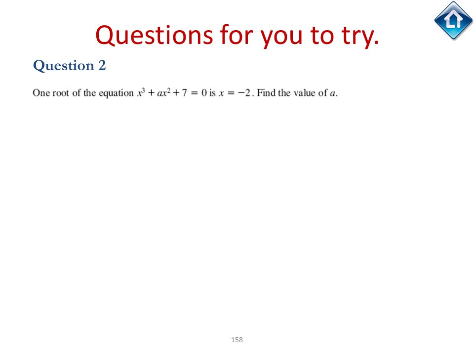 158 Questions for you to try. Question 2