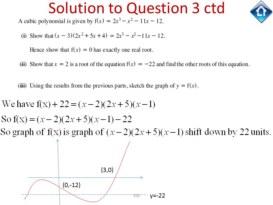 165 Solution to Question 3 ctd y=-22 (0,-12) (3,0)
