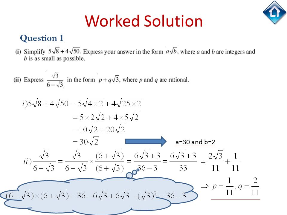 22 Worked Solution Question 1 a=30 and b=2