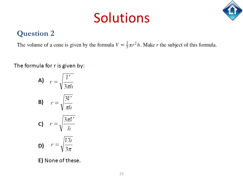 23 Solutions Question 2 The formula for r is given by: A) B) C) D) E) None of these.