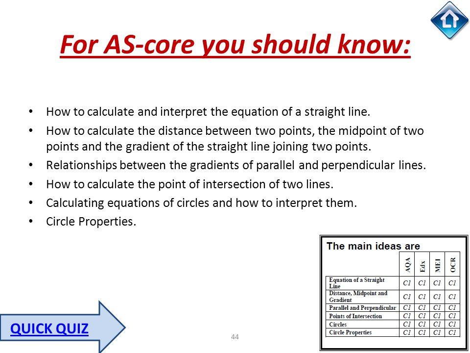 44 For AS-core you should know: How to calculate and interpret the equation of a straight line. How to calculate the distance between two points, the