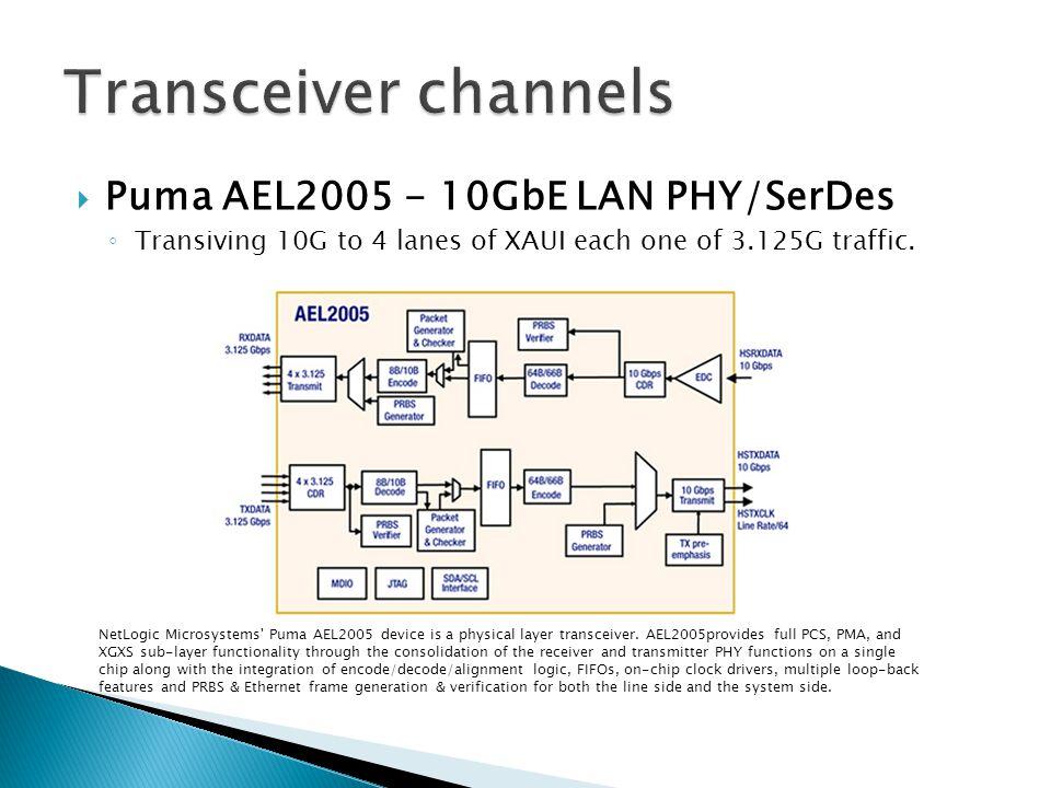  Puma AEL2005 - 10GbE LAN PHY/SerDes ◦ Transiving 10G to 4 lanes of XAUI each one of 3.125G traffic. NetLogic Microsystems' Puma AEL2005 device is a