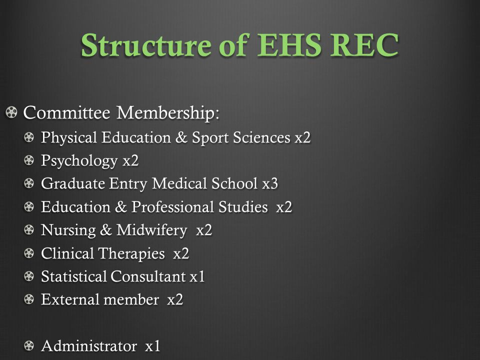 EHS Research Ethics Committee reviews all applications & agree outcome.