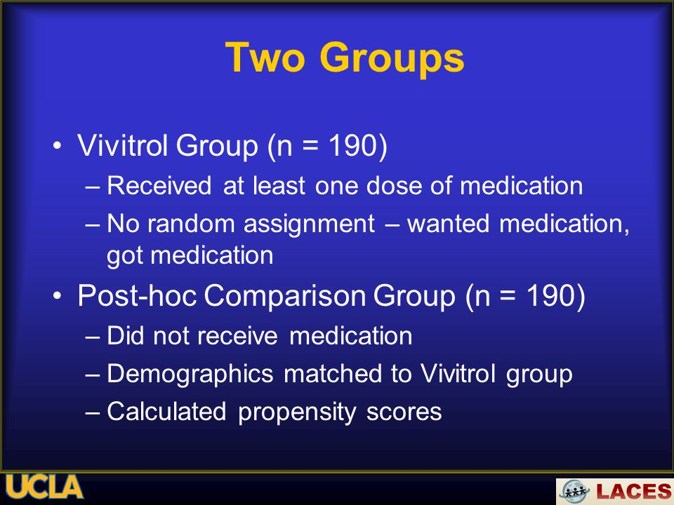 Two Groups Vivitrol Group (n = 190) –Received at least one dose of medication –No random assignment – wanted medication, got medication Post-hoc Comparison Group (n = 190) –Did not receive medication –Demographics matched to Vivitrol group –Calculated propensity scores