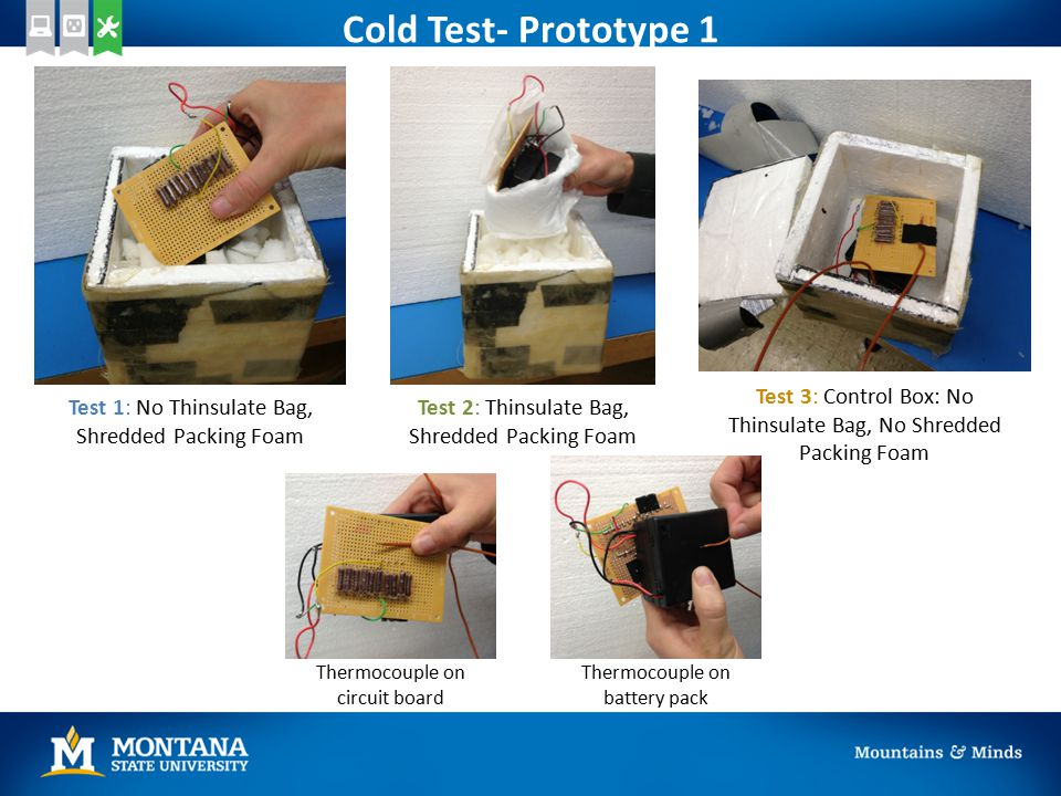 Cold Test- Prototype 1 Test 1: No Thinsulate Bag, Shredded Packing Foam Test 2: Thinsulate Bag, Shredded Packing Foam Test 3: Control Box: No Thinsulate Bag, No Shredded Packing Foam Thermocouple on circuit board Thermocouple on battery pack