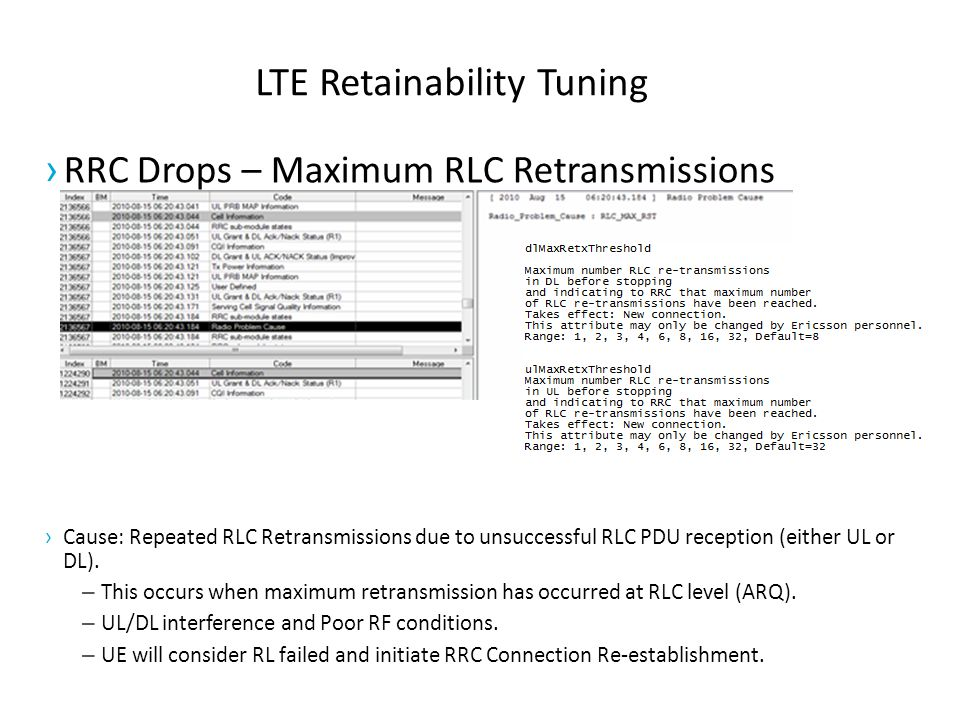 LTE Retainability Tuning › RRC Drops – Maximum RLC Retransmissions › Cause: Repeated RLC Retransmissions due to unsuccessful RLC PDU reception (either UL or DL).