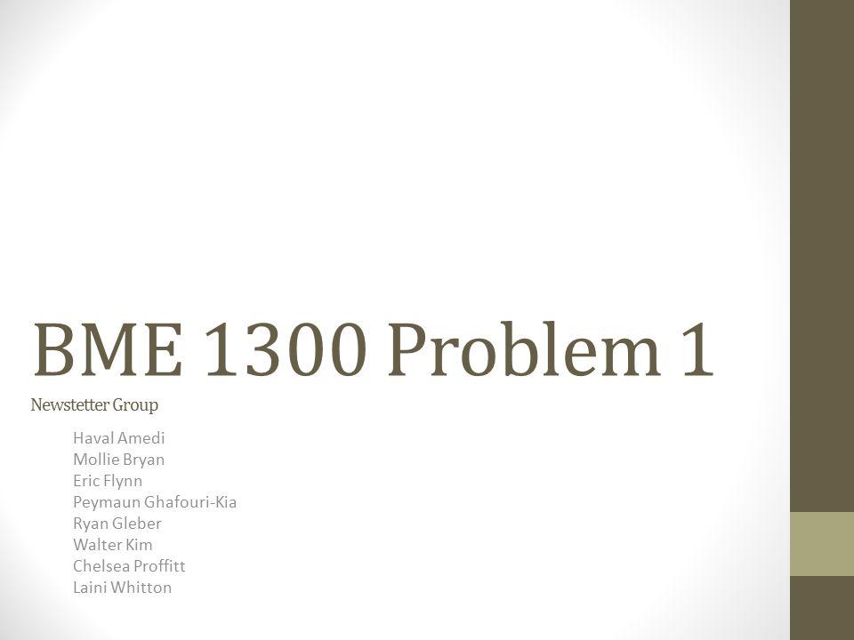 BME 1300 Problem 1 Newstetter Group Haval Amedi Mollie Bryan Eric Flynn Peymaun Ghafouri-Kia Ryan Gleber Walter Kim Chelsea Proffitt Laini Whitton