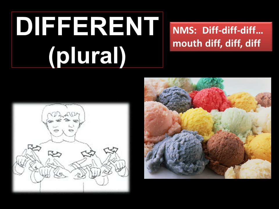 DIFFERENT (plural) NMS: Diff-diff-diff… mouth diff, diff, diff NMS: Diff-diff-diff… mouth diff, diff, diff