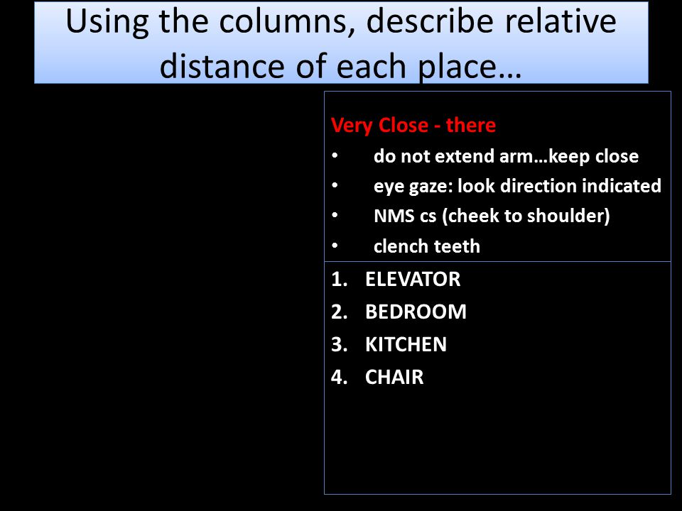 Using the columns, describe relative distance of each place… Very Close - there do not extend arm…keep close eye gaze: look direction indicated NMS cs (cheek to shoulder) clench teeth 1.ELEVATOR 2.BEDROOM 3.KITCHEN 4.CHAIR