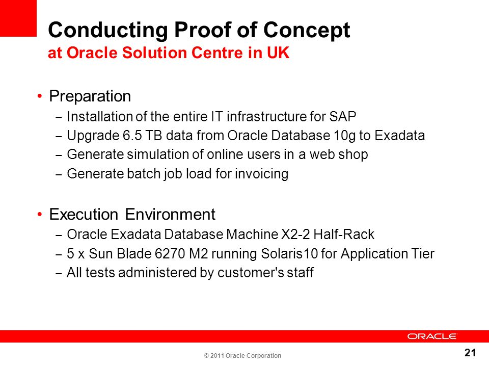 21 Conducting Proof of Concept at Oracle Solution Centre in UK Preparation ‒ Installation of the entire IT infrastructure for SAP ‒ Upgrade 6.5 TB dat