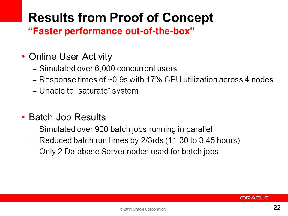 """22 Results from Proof of Concept """"Faster performance out-of-the-box"""" Online User Activity ‒ Simulated over 6,000 concurrent users ‒ Response times of"""