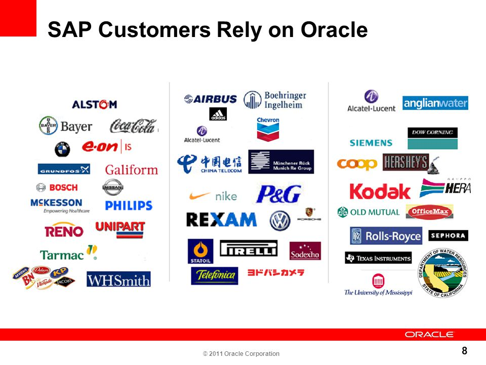 8 SAP Customers Rely on Oracle © 2011 Oracle Corporation