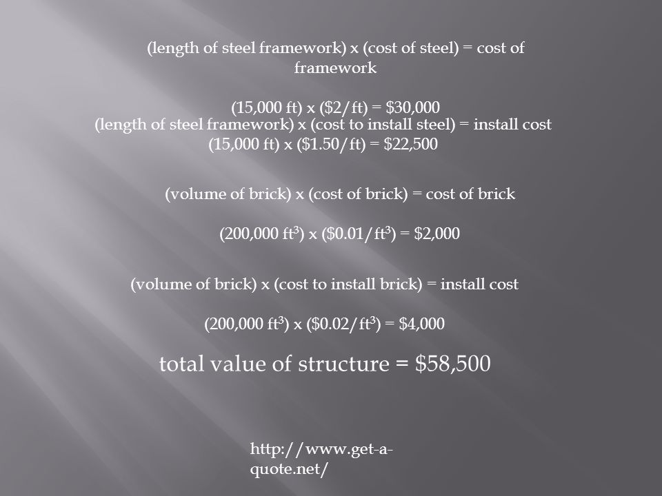 (length of steel framework) x (cost of steel) = cost of framework (15,000 ft) x ($2/ft) = $30,000 (volume of brick) x (cost of brick) = cost of brick (200,000 ft 3 ) x ($0.01/ft 3 ) = $2,000 http://www.get-a- quote.net/ (length of steel framework) x (cost to install steel) = install cost (15,000 ft) x ($1.50/ft) = $22,500 (volume of brick) x (cost to install brick) = install cost (200,000 ft 3 ) x ($0.02/ft 3 ) = $4,000 total value of structure = $58,500