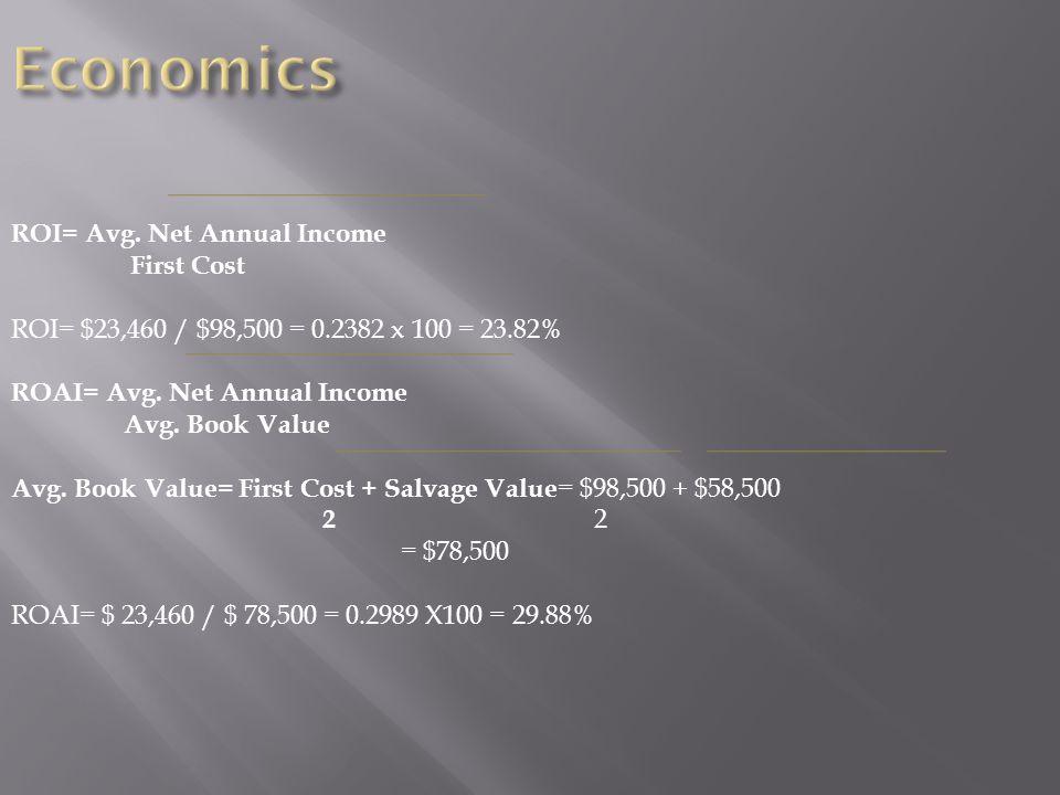 ROI= Avg. Net Annual Income First Cost ROI= $23,460 / $98,500 = 0.2382 x 100 = 23.82% ROAI= Avg.