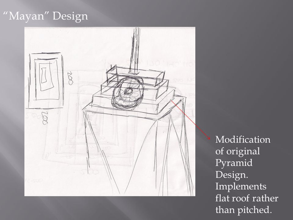 """Mayan"" Design Modification of original Pyramid Design. Implements flat roof rather than pitched."