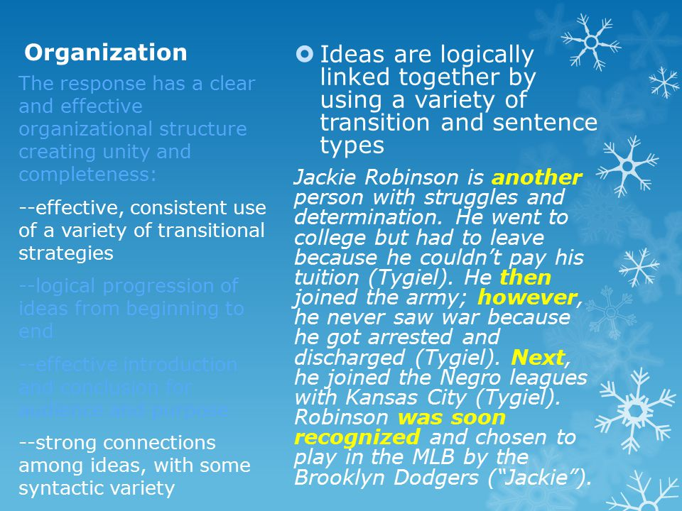 Organization  Ideas are logically linked together by using a variety of transition and sentence types Jackie Robinson is another person with struggle
