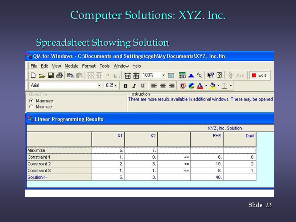 23 Slide Computer Solutions: XYZ. Inc. Spreadsheet Showing Solution