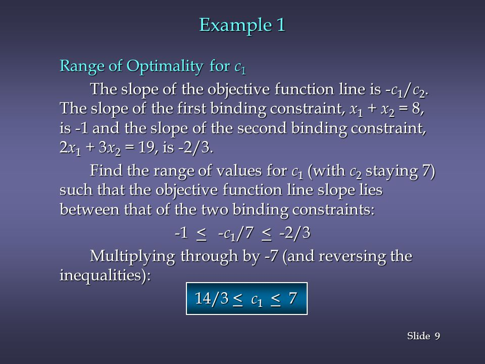 9 9 Slide Example 1 Range of Optimality for c 1 The slope of the objective function line is - c 1 / c 2.