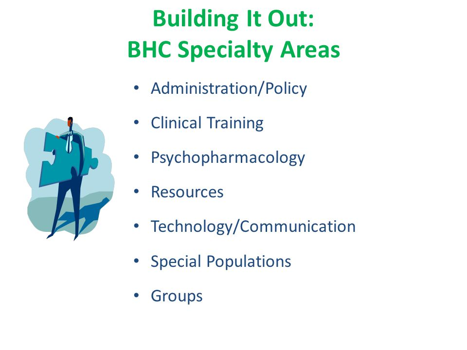 Building It Out: BHC Specialty Areas Administration/Policy Clinical Training Psychopharmacology Resources Technology/Communication Special Populations Groups