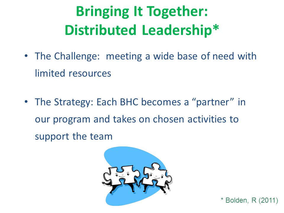Bringing It Together: Distributed Leadership* The Challenge: meeting a wide base of need with limited resources The Strategy: Each BHC becomes a partner in our program and takes on chosen activities to support the team * Bolden, R (2011)