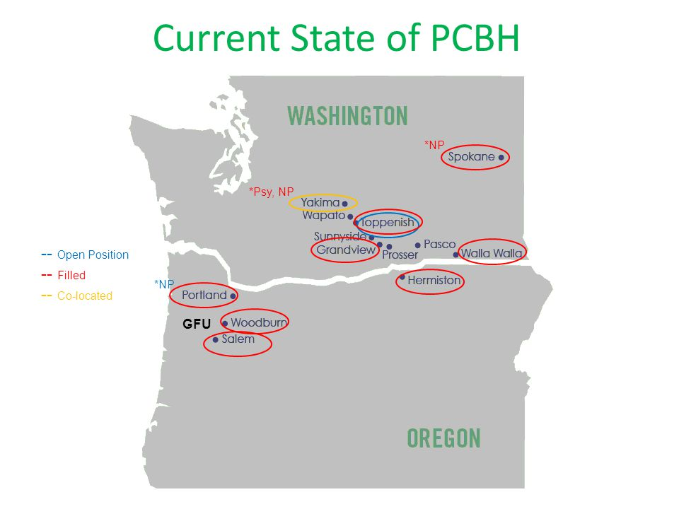 Current State of PCBH *NP -- Open Position -- Filled -- Co-located *Psy, NP GFU