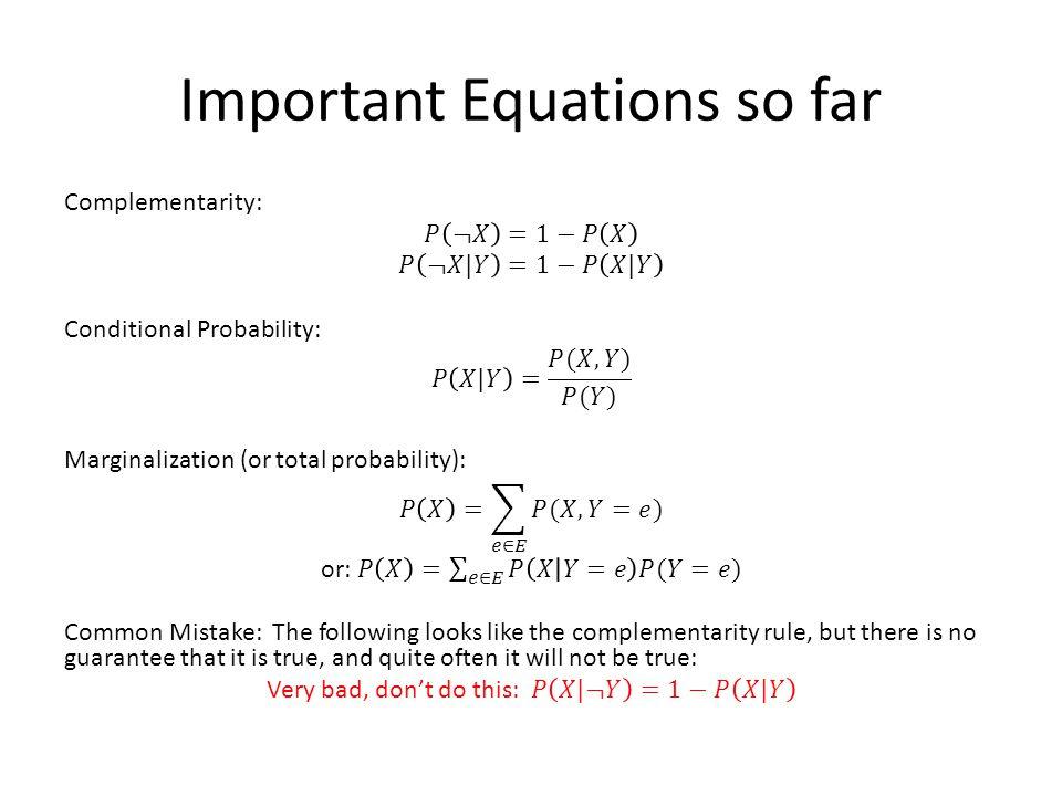Important Equations so far