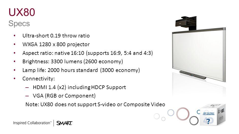 UX80 Specs Ultra-short 0.19 throw ratio WXGA 1280 x 800 projector Aspect ratio: native 16:10 (supports 16:9, 5:4 and 4:3) Brightness: 3300 lumens (260