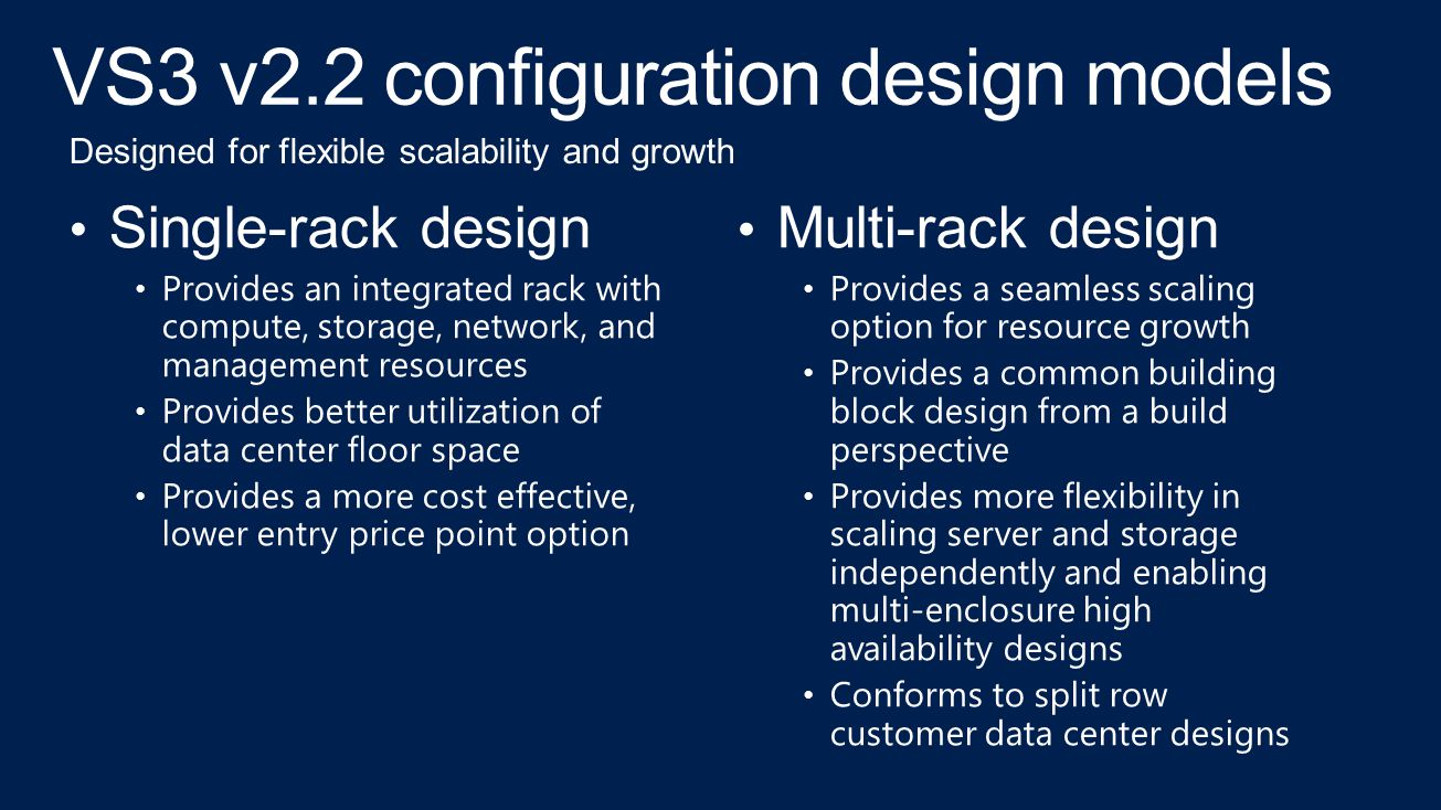 VS3 v2.2 configuration design models Single-rack design Provides an integrated rack with compute, storage, network, and management resources Provides better utilization of data center floor space Provides a more cost effective, lower entry price point option Multi-rack design Provides a seamless scaling option for resource growth Provides a common building block design from a build perspective Provides more flexibility in scaling server and storage independently and enabling multi-enclosure high availability designs Conforms to split row customer data center designs Designed for flexible scalability and growth