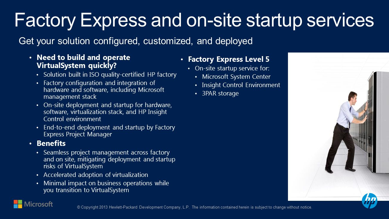Factory Express and on-site startup services Need to build and operate VirtualSystem quickly.