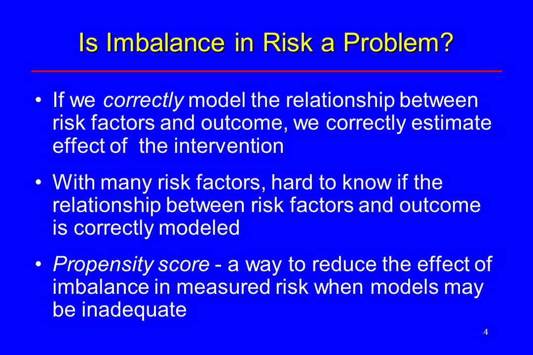 5 Propensity Score Method (Key Idea) The propensity score (PS) for an observation is the probability that the observation is exposed or got the intervention Use the PS model in pre-processing the data –To draw a sub-sample where the exposed and non- exposed groups are fairly balanced on risk factors.