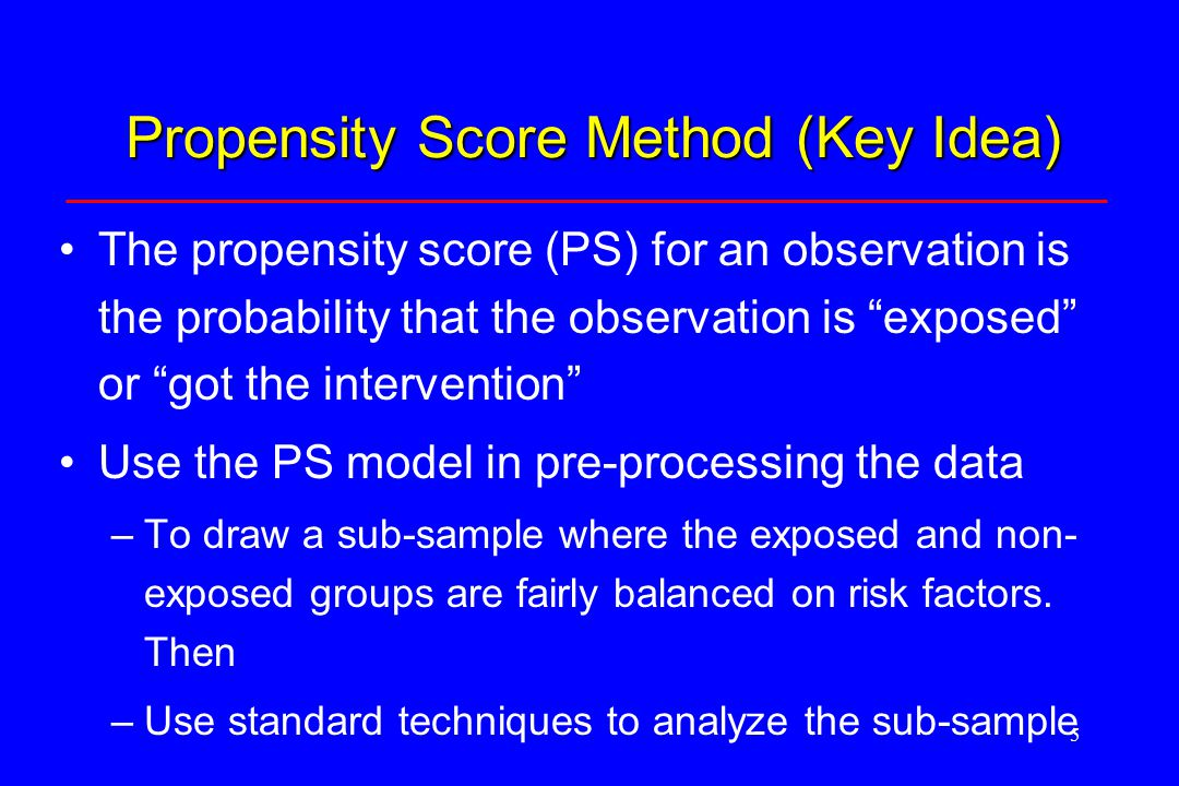 6 Simple Propensity Score Approach Estimate a model to predict the probability of intervention/exposure –This is the propensity score Divide the population into PS quintiles Create a subsample by taking equal numbers of exposed and unexposed observations from each quintile Use a subsequent regression model to estimate the effect of the intervention in the subsample