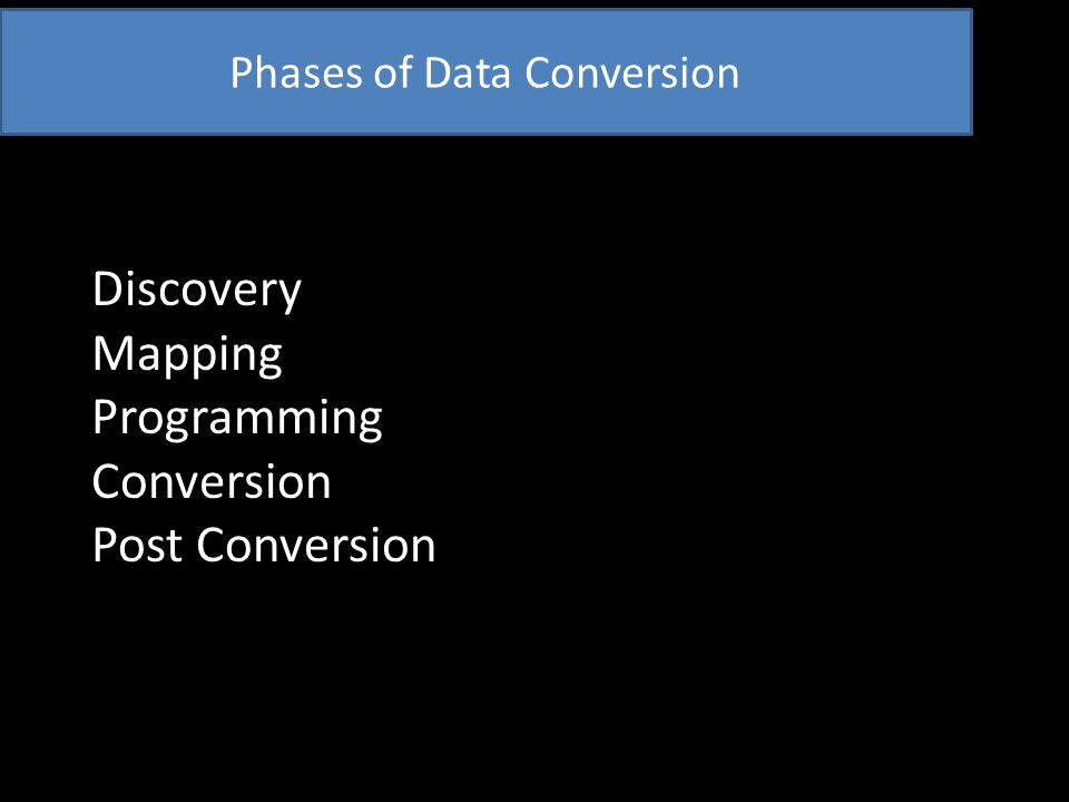 Conversion Phase - Preparing Plan as if major outage -Coordinate with departments affected -Have black out period for system use -No new records into system after cutoff Central Gatekeeper designated
