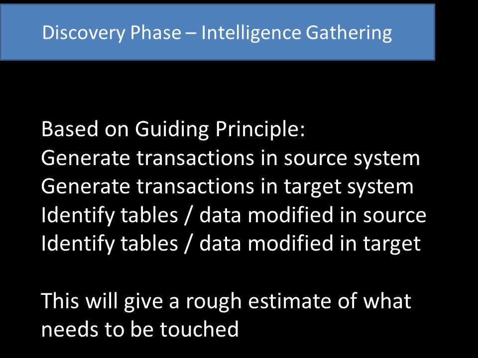 Mapping Phase – Two types of data Business data = describes record System data = record's state in system