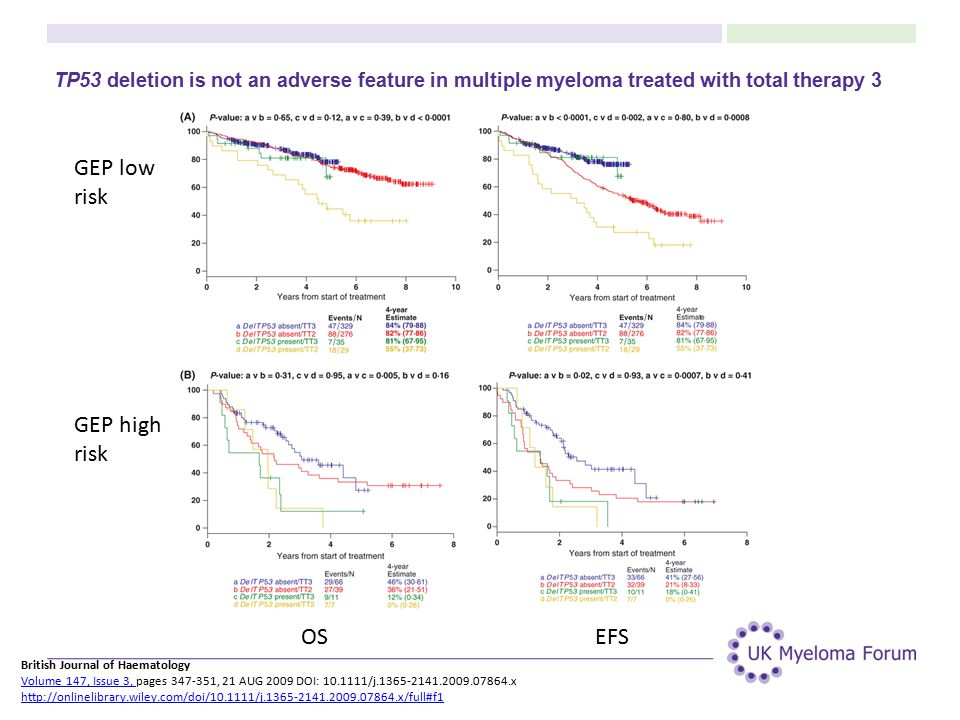 TP53 deletion is not an adverse feature in multiple myeloma treated with total therapy 3 British Journal of Haematology Volume 147, Issue 3, pages 347-351, 21 AUG 2009 DOI: 10.1111/j.1365-2141.2009.07864.x http://onlinelibrary.wiley.com/doi/10.1111/j.1365-2141.2009.07864.x/full#f1 Volume 147, Issue 3, http://onlinelibrary.wiley.com/doi/10.1111/j.1365-2141.2009.07864.x/full#f1 OSEFS GEP low risk GEP high risk